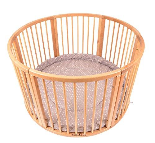 Parque infantil redondo de madera maciza con incrustaciones suaves, 120 cm de diámetro marrón Puntos Marrón Talla:120cm