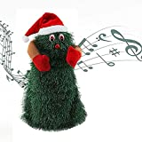 Funny Cute Green Electronic Xmas Tree,Musical Santa Claus Fun Toy,Electric Dancing and Singing Christmas Tree Plush Toy Doll for Christmas Decoration and Kids Gift (S)