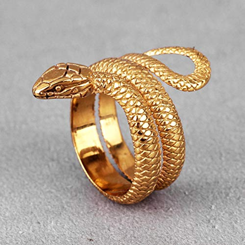 Gold Snake Animal Stainless Steel Mens Rings Punk Hip Hop Unique Trendy For Male Boyfriend Jewelry Creativity Gift Wholesale