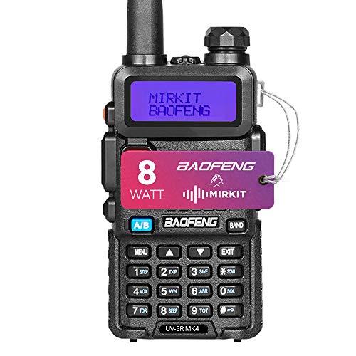 Mirkit - Baofeng UV-5R MK4 8W - Funkgerät mit 1800 mAh Batterie - Funkgerät 10 km Reichweite mit Headset - VHF UHF Funkgerät, 128 Kanäle - Handfunkgerät UV 5R, 1 Stück
