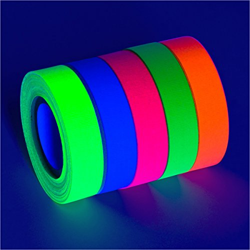 5-Pack SUPER BRIGHT UV Blacklight Reactive Fluorescent / Neon Gaffer Tape Matte Finish