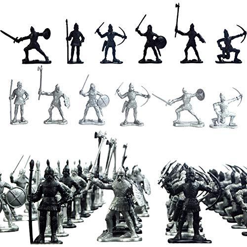 Kinnart 60-teiliges Set Soldaten Figuren Mittelalter Ritter Krieger Kinder Spielzeug 60 Stück/Set Mini Simulation Warrior Antike Soldaten Figuren Statisches Modell Kinder Spielzeug mehrfarbig