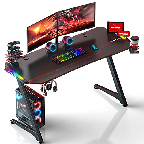 Gaming Desk with Led Lights, mfavour 55 inch PC Gaming Computer Desk Z-Shaped Gaming Table with Audio Sensor RGB Light, Full Mouse Pad Headphone Hook, Cup Holder (Black2)