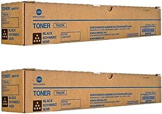TN221K Genuine Konica Minolta Toner Cartridge 2 Pack, A8K3130, 24000 Page-Yield Per Ctg, Black
