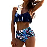 Yesmile Ropa de Baño Mujer Bikini Deportivo Mujeres Alta Cintura Bikinis Traje de Baño Swimsuit Mujer Retro Beachwear Bikini Set (XL, Azul)
