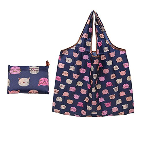leecoo Reusable Grocery Bags, cute Grocery Tote Foldable into Attached Pouch, Polyester Reusable Shopping Bags, Washable, Durable and Lightweight (cat Blue)