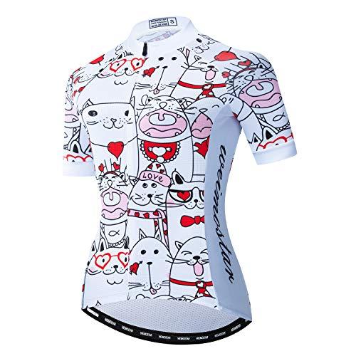 Fahrradtrikot für Damen, kurzärmelig, mit Reißverschluss und 3 Taschen - - Groß