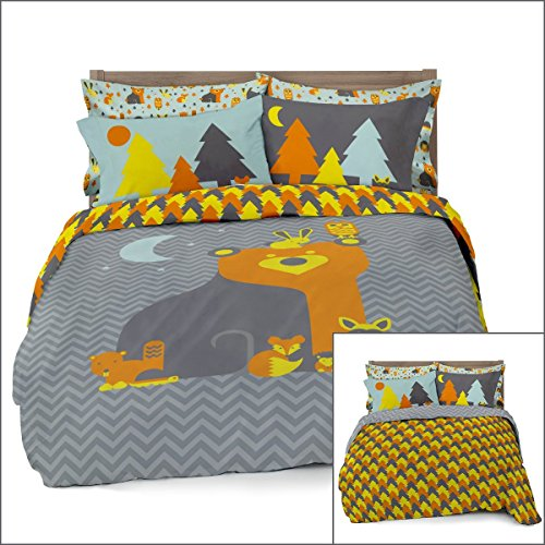 Where The Polka Dots Roam Full/Queen Woodland Creatures Duvet Cover Set 2 Pillowcases Kids Bedding - Double Brushed Ultra Microfiber Luxury Set (L 90in x W 92in)