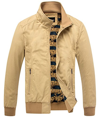 chouyatou Men's Essential Cotton Lightweight Bomber Jacket (Medium, Khaki)