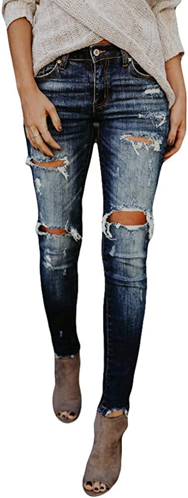 656 Women's Loose Boyfriend Jeans Stretchy Ripped Distressed Denim Pants Hight Waisted Skinny Jeans