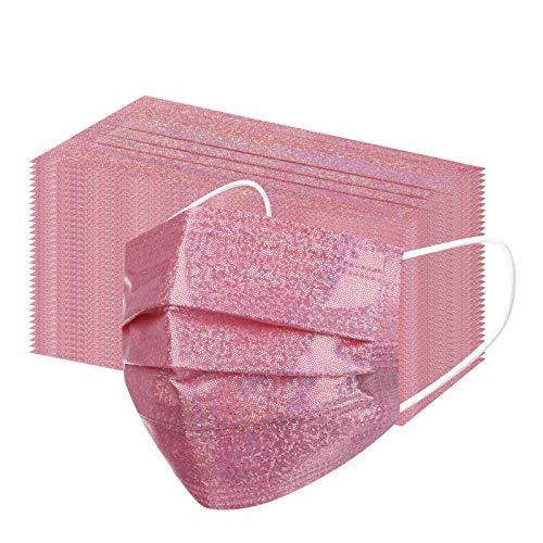 Lulupi 50Stück Einweg Mundschutz Erwachsene Glitzer Mund-Nasenschutz Multifunktionstuch Atmungsaktiv 3 lagig Einmal Glitzermasken Glänzend MNS Maske Mode Abend Party Wedding Halstuch Schals Tücher
