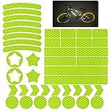 42 Piezas Pegatinas Reflectantes Bici Pegatinas Reflectantes Casco Moto Pegatinas Luminosas PelíCula Reflectante Autoadhesiva Para Mochila y Cascos Motocicletas Balance Car Amarillo Fluorescente