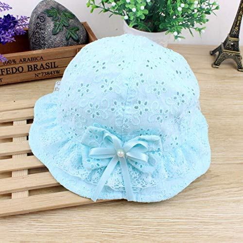 niceday Netter Polyester Sommer-Mädchen-Hüte Cotton Sun Protect Bow Bucket Hut for Baby-Kleinkind (Color : Blue)