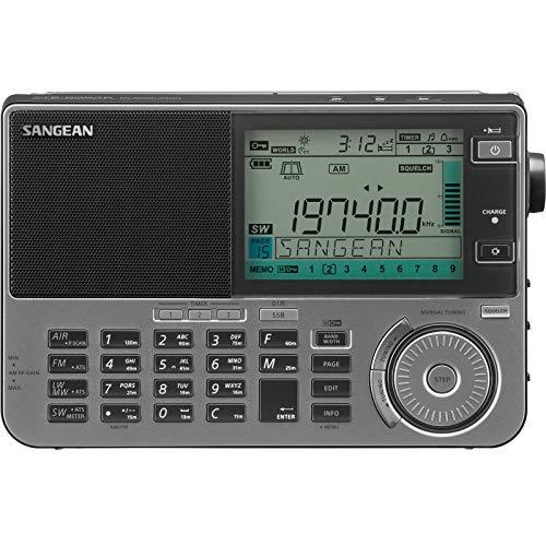 EnergyPower 短波ラジオ SANGEAN ATS-909X2 デュアルコンバージョン+DSP SSB エアバンド/長波/中波/短波/FM 1674局メモリー RDS/ATS/LINE OUT/AUX IN/RECコントロール 外付アンテナ対応 PLLマルチバンドレシーバー ポータブルラジオ スリープタイマー 目覚ましアラーム (チタン)