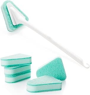 GardenHelper Replaceable Brush Head Long-handled Brush, Rotatable Long Handle Removable Tub/Bathroom/Tile/Scrub Brush Scrubber Lightweight Handle Detachable, with Five Replaceable Brush Heads (green)