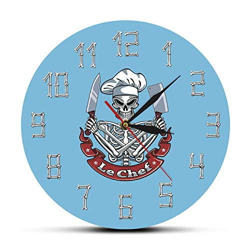 hufeng Reloj de Pared Skull Cook Reloj de Pared Moderno Reloj Esqueleto con Sombrero de Chef Cuchilla Cuchilla Restaurante francés Decoración de Cocina Regalo Divertido de Chef