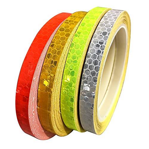 Gebildet 4 Stück Reflektorband Klebeband für Sicherheit Warnklebeband Sicherheit Markierung Band(10mm*8m, Rot + Grün + Gelb + Weiß)