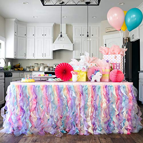 Bluekate Rainbow Party Tutu Table Skirt 14ft Table Skirt with Double Layer Organza Willows for Unicorn Party Supplies Rainbow Decorations 1st Birthday Décor Baby Shower Décor or Mermaid Backdrop…