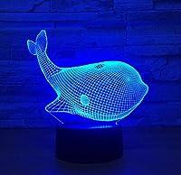 クジラ3DランプLEDUSB鳥3Dナイトライト7色リモートタッチスイッチ動物3Dテーブルランプ雰囲気ランプ