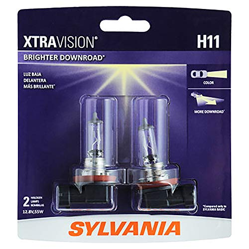 SYLVANIA H11 XtraVision Halogen Headlight Bulb, (Contains 2 Bulbs)