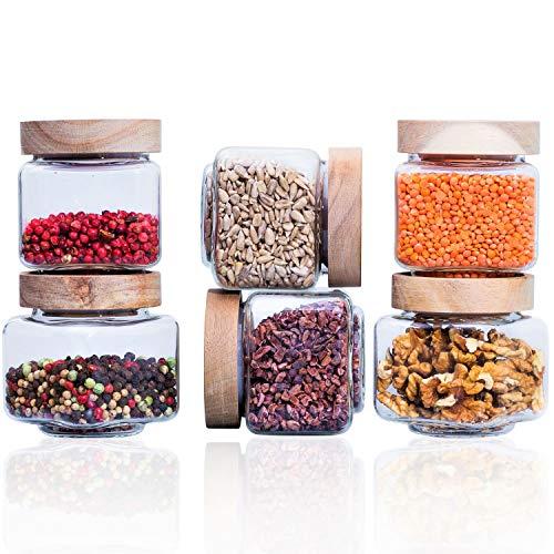 Econovo® Gewürzgläser eckig mit Deckel (6-teilig) aus mundgeblasenem Borosilikatglas, Gewürzdosen Vorratsglas luftdicht, Vorratsdosen Glas-Behälter Set für Gewürze und Lebensmittel klein 220ml