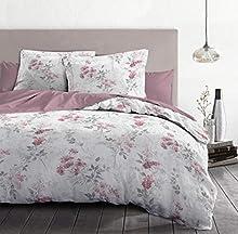 Home Linge Passion - Funda nórdica de 3 Piezas, 100% algodón, 57 Hilos, 2 Personas, 220 x 240 cm, pompador Blanco y Rosa Envejecido HP62667