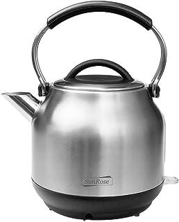 کتری چای برقی SunRose SR968R 100٪ BPA فنجان ضد زنگ بدون چای برای قهوه و قهوه ، قوری فوق العاده سریع 1500 و کتری آب کوچک برقی ، خاموش شدن خودکار بی سیم محافظت در برابر جوش ، ضد زنگ ضد زنگ 1.7L