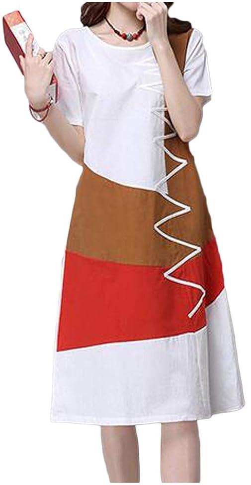 スライス真っ逆さま始まり[ライオンガーデン] レトロ 綿麻 ワンピース 体型カバー Aライン ポケットつき 半袖 M ~ XL レディース