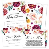 Set of 25 Boho Floral Baby Shower Invitations, Diaper Raffle Tickets and Book Request Cards with Envelopes by Hat Acrobat   It's a Girl Red Flower Fill in Invites for Gender Reveal Party