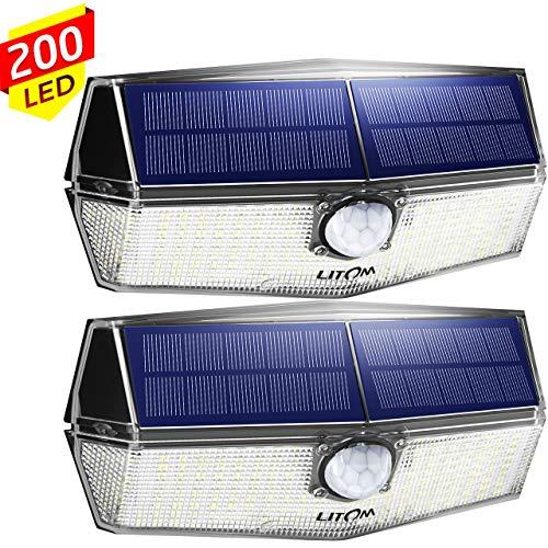AEXOS 200 LEDs Luz Solar de Exterior, 270° Gran Angular, con PIR Sensor Movimiento Actualizado, IPX7 Impermeable, Más Brillante y Durable, Fácil de instalar(Paquete de 2)