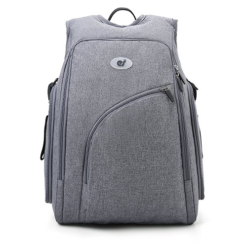 ECOSUSI Diaper Backpack Fully-Opened Baby Nappy Bag with Changing Pad Maternity Bag Grey Size: L