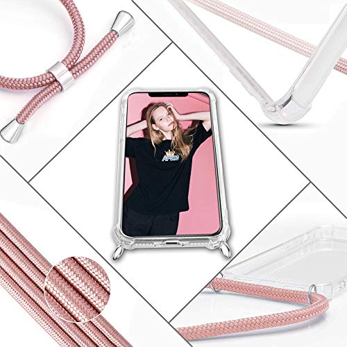 XTCASE Handykette kompatibel mit Huawei Mate 10 Lite Handyhülle, Smartphone Necklace Hülle mit Band Transparent Schutzhülle Stossfest – Schnur mit Case zum Umhängen in Roségold - 4