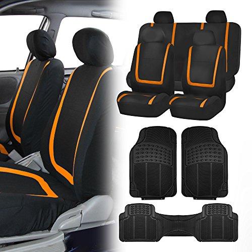 FH Group FH-FB032114 Unique Flat Cloth Full Set Car Seat Covers, Orange/Black with F11306 Black Vinyl Floor Mats- Fit Most Car, Truck, SUV, or Van