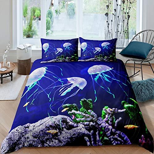 Juego de funda de edredón de medusas para niños y niñas, hermosa funda de edredón subacuática, decoración de ropa de cama y lino para dormitorio de 3 piezas Super King