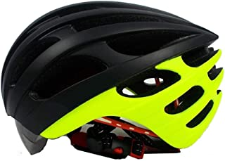 Crystalzhong-sp Mountain Bike One-Piece Riding Helmet Ultra-Light Mountain Bike Riding Helmet with Goggles Integrated Bicycle Helmet (4 Colors) (Color : Yellow, Size : M)