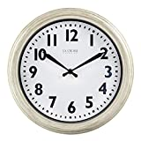 LaCrosse 404-3030W 12 Inch Antique White Quartz Wall Clock