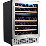【Upgraded】Aobosi 24 Inch Dual Zone Wine Cooler 46 Bottle Freestanding and Built in Wine Refrigerator with...