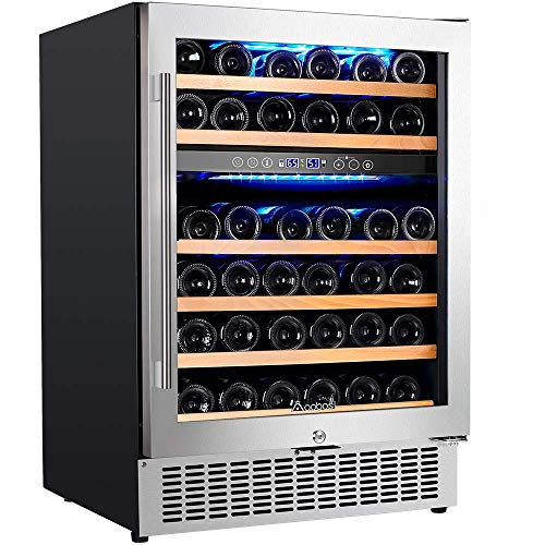 UpgradedAobosi 24 Inch Dual Zone Wine Cooler 46 Bottle Freestanding and Built in Wine Refrigerator with Advanced Cooling System, Quiet Operation, Blue Interior Light | Easily Store Larger Bottles