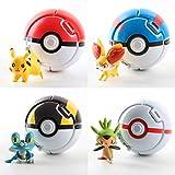 4 Uds Pokemon Pokeball Lanzar Automáticamente Pokeball con Figura De Juguete De Pokemon para Chico Pikachu 7Cm Pokemon Elf Modelo De Juguete