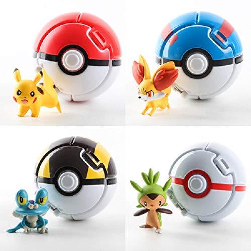 4Pcs Pokemon Anime Figure Toy For Kid Pikachu 7Cm Pokeball Throw Automatically Bounce Pokeball With Elf Model Toy Xmas Gift