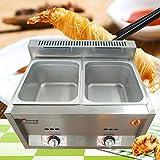 Dyrabrest Commercial Gas Fryer Food Warmer Steamer Heater 6L*2 Deep Pan Buffet Countertop For Kitchen Restaurant (2 Pan)