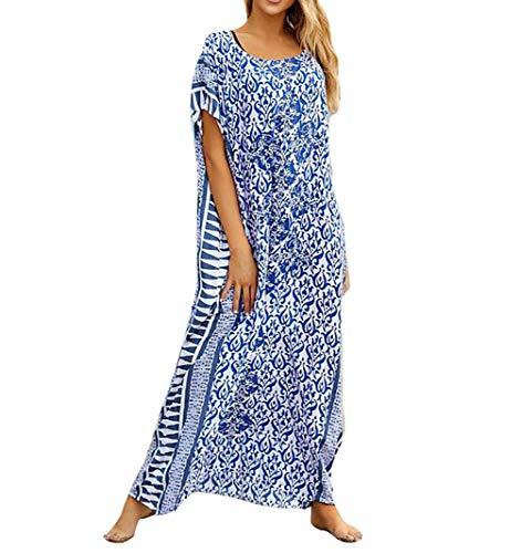 MEILING Women's Print Kaftan Nightgown Long Caftans Beach Maxi Dress Bikini Swimsuit Bathing Suit Cover Up Swimwear (Blue A)