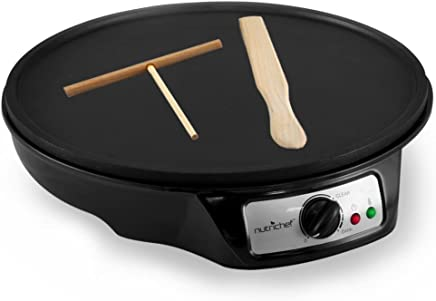 Aluminum Griddle Hot Plate Cooktop - Nonstick 12-Inch Electric Crepe Maker w/ LED