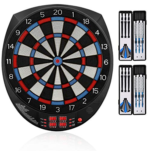"Biange Electronic Dart Board, 15.5"" Digital Dartboards Set Soft Tip Regulation Sized, 27 Games, 243 Variants with 6 18g Darts, 100 Tips, Support up to 16 Players"