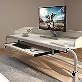 DlandHome Table de lit Mobile 120cm Table d'allaitement Table d'ordinateur sur Lit pour l'utilisation d'hôpital/Chambre,Érable Blanc