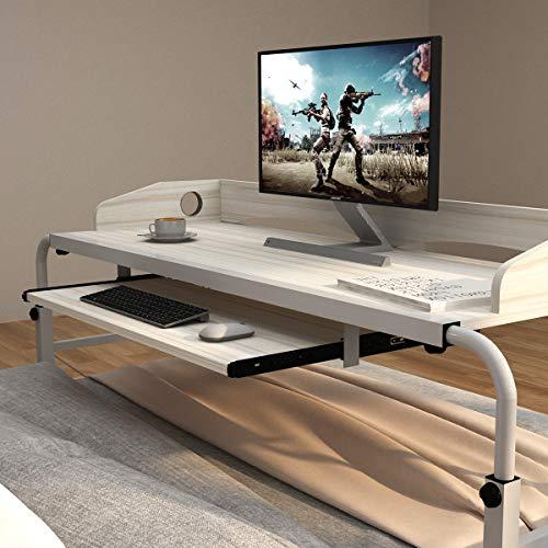 soges Computertisch Pflegetisch Betttisch Höhenverstellbarer PC Tisch Laptoptisch mit Rollen,Laptop Notebookständer für Bett,120x45CM,Ahorn