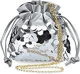 einzigartige Damen Beuteltasche mit Pailletten originelles Design Ziehschleife Silber
