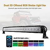 Auxbeam 52 Inch LED Light Bar RGB Multi-Color Curved LED Bar 5D V Series 300W Off Road Driving Light Spot Flood Combo Beam