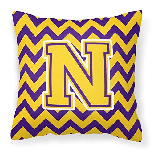 Caroline's Treasures CJ1041-NPW1414 Letter N Chevron Purple and Gold Fabric Decorative Pillow, 14Hx14W, Multicolor