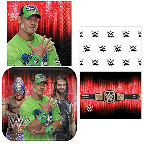 WWE Smash - Napkins, Plates, Tablecover, Happy Birthday Party Bundle for 16 People - Includes 1 Maze Game Activity Card by ClassicVariety